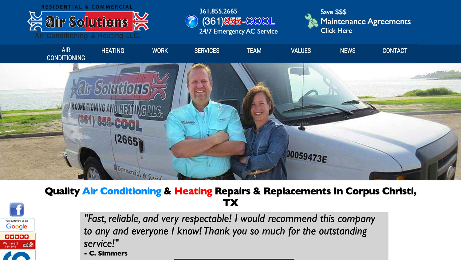 Air Solutions Old outdated website